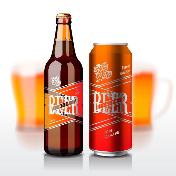 Eine Flasche und Dose Bier